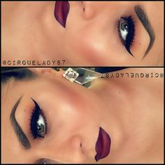 Night moth liner and diva lipstick Dark Lipstick Makeup, Cat Eyes, Hair Color Lips, Dark Lips Makeup, Dark Red Lipstick Makeup, Burgundy Lipstick Makeup, Lip Colors, Fall Makeup, Dark Lipstick Colors