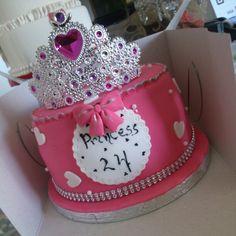 Fushia and white cake #princess #cake#blingbling