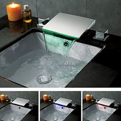 Contemporary Chrome Finish Color Changing LED Waterfall Bathroom Sink Faucet - FaucetSuperDeal.com