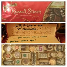 Money gift giving idea chocolate box with $! :)