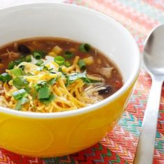 Crock Pot Chicken Enchilada Soup- this soup is easy to make and perfect for cold winter nights.