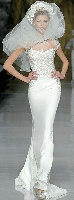 Sleek wedding dresses on pinterest jazz age bridal for Long sleek wedding dresses