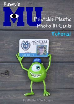 Make Monsters University ID cards for students or faculty #monstersU