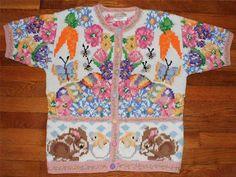 Susan Bristol Pastel Spring Bunny Rabbit Easter Cotton Cardigan Sweater M | eBay $24.50