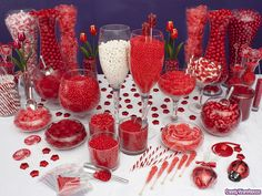 Red Candy Buffet    Red, the color of passion, is featured in this fun candy buffet design including chocolates, licorice wheels, fruit jell slices, gumballs, rock candy, swirling lollipops, taffy, gummy rings, red hots, candy sticks, and more