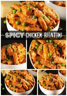 Spicy chicken rigatoni collage