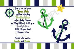 Sailor baby shower invitation by uniquecreationsbySan on Etsy