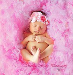 Newborn girl baby month photo shoot session ideas pose pink petti romper
