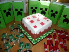 Minecraft Party = Many Happy Kids! All the items where homemade. And all the items can be found on my 'Minecraft Party' board, or click these pin links...For the Party Bags http://www.pinterest.com/pin/374784000212503500/ For the TNT bundles http://www.pinterest.com/pin/374784000212503644/ For the Cake Pops http://www.pinterest.com/pin/374784000212503917/
