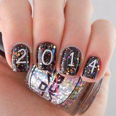 new year by lifeisbetterpolished #nail #nails #nailart new years eve nails, 2014 graduation nails, 2014 nail, black nails, new years nails, happy nails, nail nailart, year nail, nail art