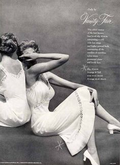 1954 Vanity Fair lacy white slips vintage lingerie ad photo by Mark Shaw