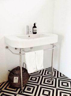 Black White Chevron Floor Bathroom/Remodelista