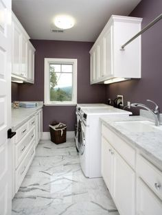 Purple and white laundry room