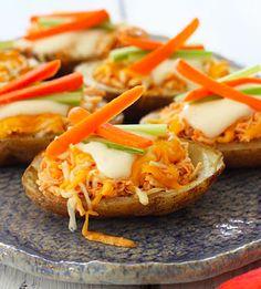 Skinny Buffalo Chicken Potato Skins!!! Much healthier than your normal potato skins!! And so tasty! |skinnytaste.com