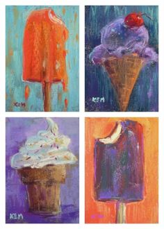 Summer Treats...Ice Cream Paintings, painting by artist Karen Margulis
