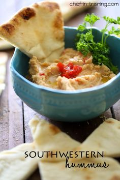 Southwestern Hummus from chef-in-training.com …This hummus is so easy to make and has the perfect kick of flavor!