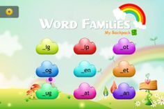 Word Families - My Backpack ($1.99) Common word families, related words with their pictures and kid friendly user interface.  ★ A simple tap and get word games for kids.allows kids to learn reading accurately, rapidly, and with comprehension.Based on the five essential components for effective reading: phonemic awareness (word families), phonics (blends), fluency, vocabulary and comprehension, the app provides a good learning experience for the children.