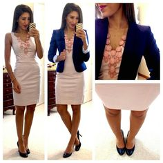 office fashion, blazer, the office, dress, fashion blogs, necklac, work outfits, work attire, work cloth