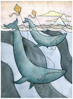 Blue Whales Flying Kites  Blue Whale Art  by DanielleVGreen, $35.00