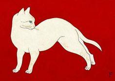 Tsuguharu  FOUJITA - Chat Blanc, Fond Rouge, ca.  1926 Japanese,  polychromed  LAP