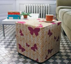 sewing, weekend project, tutorials, slip cover, ottoman slip, slipcovers, milk crates, cube, diy