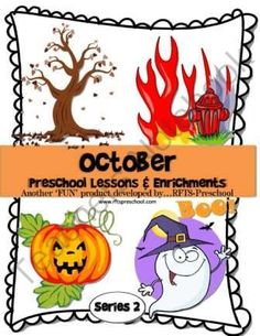 October Preschool Lessons (4 Weekly Units) Series II from RFTS Preschool on TeachersNotebook.com (212 pages)  - October Preschool Lessons (4 Weekly Units) Series II  October is a month filled with fun activities surrounding themes: Fall, Fire Safety, Mr. Jack O' Lantern, & Halloween.   Themes: Week One: Fall Has Begun, Week Two: Fire Safety Station, Week Three: