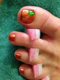 My mom's pumpkin toenails for fall 2013!