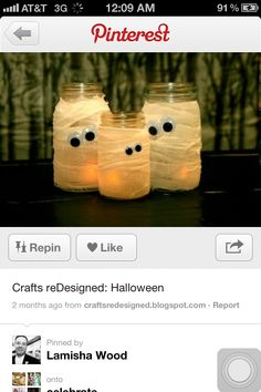 halloween craft.. all you need are googly eyes, tissue paper, mason jars and a candle