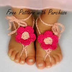 Baby crochet pattern sandal 2 Versions and Free barefoot sandal pattern included with purchase number 211 Instant Download