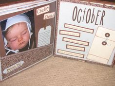 Baby album ideas - a book with a layout for each month (1 photo, highlights, and a letter to your baby), an accordian book, and a baby shower book