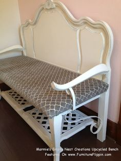 Marmie's Empty Nest Creations Upcycled Bench - Featured On Furniture Flippin' - Made From Bed, Two End Tables, Wrought Iron Railing, Old Desk Top And A Chair Wrought Iron Railings, Old Desks, Upcycling Benches, Nests Creations, Empty Nests, Beds Frames, Furniture Flippin, Marmie Empty, Desks Tops