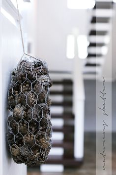 chicken wire and pine cones
