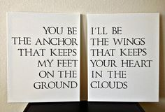 16x20inch Quote on Canvas - You Be The Anchor That Keeps My Feet On The Ground, I'll Be The Wings That Keeps Your Heart In The Clouds