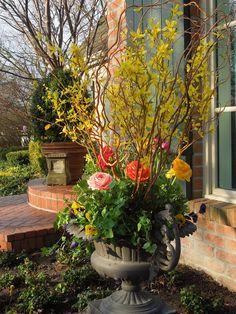 spring planter, flower arrang, french tangerin, decor urn, spring urn, flowers garden, branches, container gardening, pansi