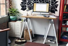 Sawhorse standing desk   10 Do-It-Yourself Standing Desks