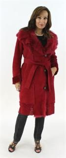 Make an Entrance Ultra Feminine Crimson Shearling Coat with Perforated Design