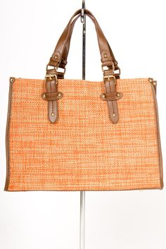 Tangerine and Gold Woven Tote