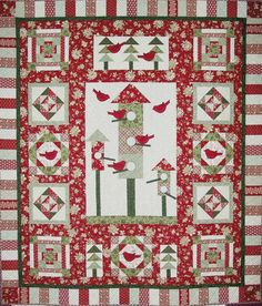 House Warming Party quilt kit - Christmas fabrics, birds and birdhouse applique