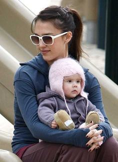 Jessica Alba at the park with baby Honor Marie