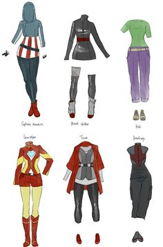Avengers costumes female versions for Captain America, Black Widow, Hulk, Iron Man, Thor, and Hawkeye
