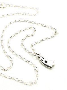 Cute little sterling silver ghost necklace #ghost #halloweenjewelry #sterlingsilver #cuteness #halloween by #UrbanClink $29.50