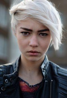 hair color, dark eyebrows, fair skin, blunt cut