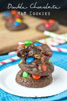 These Double Chocolate M&M Cookies are the fudgiest, chocolatiest cookies yet! Super soft and full of kid-friendly M&M chocolate candies.