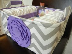 "Ex Large-Diaper Caddy-14""x 10""x 7""(CHOOSE COLORS)Two Dividers-Fabric Storage Basket Bin-""Lavender Rose on Grey/white Zigzag"""