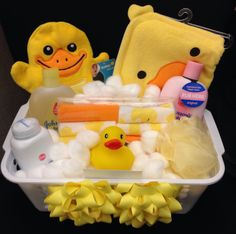 Baby shower gift basket. Love this.