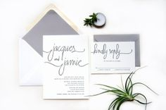 Modern Calligraphy Letterpress Wedding Invitation by Lucky Penny Paperie on Etsy