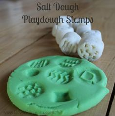 Salt Dough Texture Stamps!  SO simple to make, and cost $1 to do so!  These make great homemade gifts for kids, and are FULL of learning.  Fine motor skills, texture learning, descriptive word development and much more.  www.HowWeeLearn.com