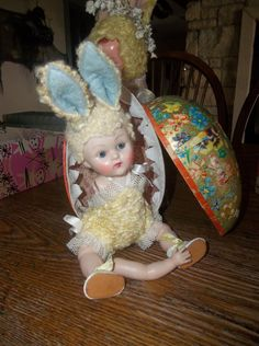1950 Vogue Ginny Crib Crowd Fluffy Easter Bunny Suit Doll CUTE!