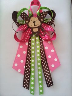Monkey girl baby shower pin/corsage by diapercake4less on Etsy, $12.00