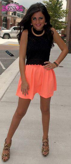 Neon Peach Skater Skirt $39.99